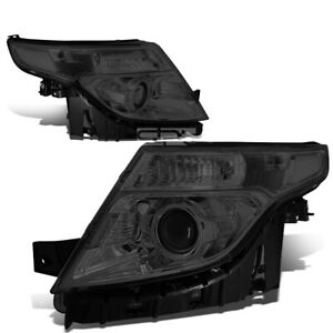 Fit 2011 2015 Ford Explorer Smoked Housing Clear Corner Projector Headlight