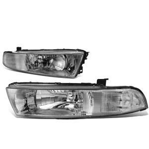 Fit 99 03 Mitsubishi Galant Pair Chrome Housing Clear Corner Headlight Lamps Set
