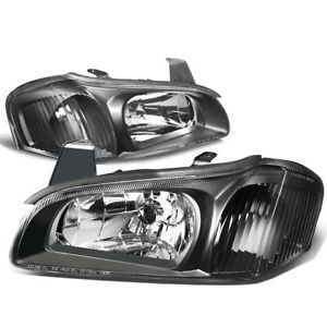 Fit 00 01 Nissan Maxima Black Housing Clear Corner Euro Style Headlight Lamps