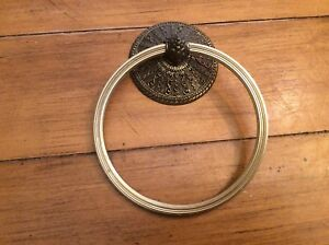 Vintage 1968 Brass Towel Holder Ring Ornate Amer Tack Hdwe Co D2404