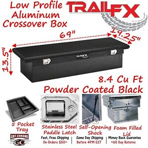 120702 Trailfx 69 Black Aluminum Crossover Truck Tool Box Low Profile Lid