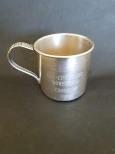 1956 Silver Plate Baby Childs Cup Sunray Mid Continent Horseshoe Champion 1956