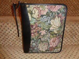 Franklin Quest Covey Usa Black Leather Floral Tapestry Classic Planner Strap