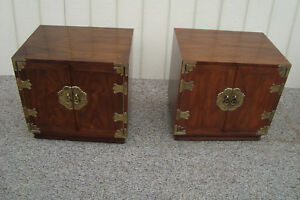 59421 Pair Henredon Oriental Nightstand End Table Stand S