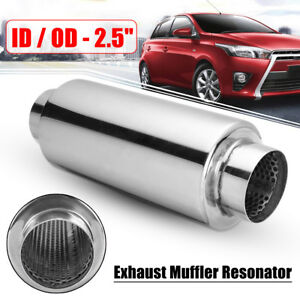 Universal Car Exhaust Muffler Resonator Stainless Steel 2 5 Inelt 2 5 Outlet