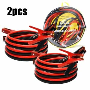 2 pcs Comercial Heavy Duty 20 Ft 2 Gauge Booster Cable Jumping Jumper Cables