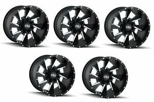 Cali Off road 9106 2952m18 Set 5 Distorted 20x9 Satin Black W spokes Wheels