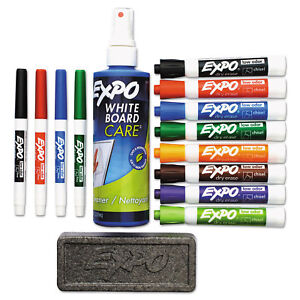 Expo Low odor Dry Erase Marker Eraser Cleaner Chisel fine 12 set