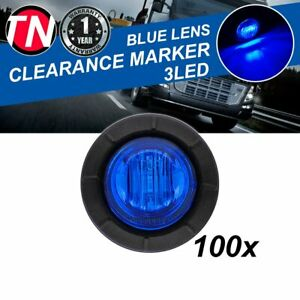 100 X 3 4 Side Marker Round Indicator 3 Led Blue Light Lorry Trailer Truck 12v