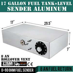 17 Gallon Aluminum Fuel Cell Gas Tank Level Sender Anti Slosh Foam Hot Rod