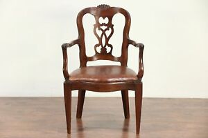 Italian Antique 1840 Desk Or Occasional Chair Carved Walnut 29420