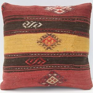 16 Decorative Pillow Turkish Kilim Pillow Case Handmade Square Cushion Area Rug