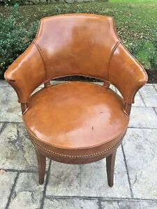 Antique Vintage Leather Swivel Office Winged Arm Chair Butterscotch Rotates 360
