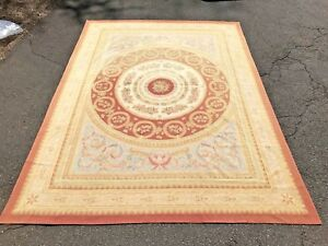Antique Vintage Old Hand Woven French Style Wool Aubusson Rug 9 X 12