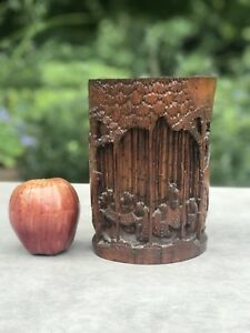 Antique Chinese Bamboo Brush Pot Carved