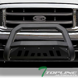 Topline For 1999 2004 Ford F250 F350 Avt Bull Bar Bumper Grille Guard Matte Blk