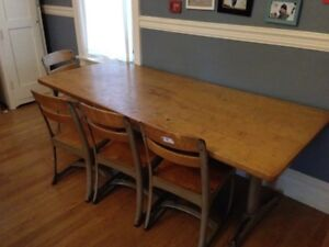 American Seating Envoy Vintage Antique School Table Desk 4 Children Chairs