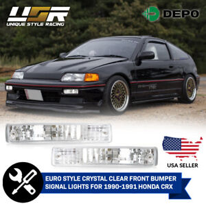 Depo Jdm Chrome Clear Front Bumper Signal Lights For 1990 1991 Honda Crx Cr X
