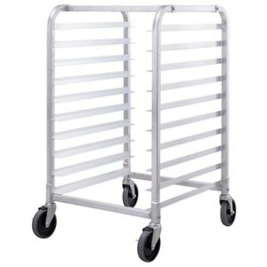 10 Sheet Aluminum Bakery Rack Rolling Commercial Kitchen Cookie Bun Pan Silver