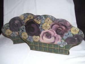 2 Vintage Antique English Tole Metal Handpainted Flowers In Basket Bookend