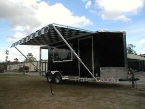 New 7x18 7 X 18 Enclosed Concession Food Bbq Trailer