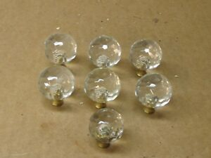 7 Vintage Clear Glass Round Drawer Pulls