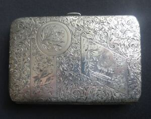 Super Engraved Antique Victorian English Sterling Silver Card Case S Mordan