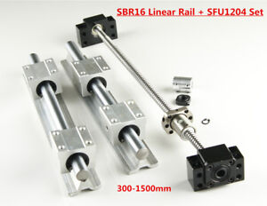 16mm Sbr16 Linear Rail Set Sfu1204 Blallscrew Kit 300 1500mm For Cnc Diy