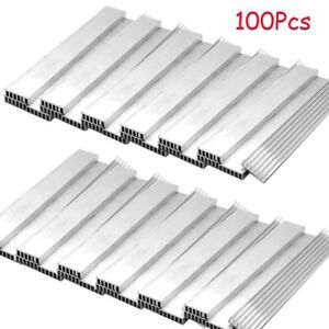 100pcs Aluminum Heat Sink Long Led Cooling Fin Power Ic Transistor 150x20x6mm
