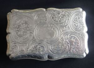 Superb Large Antique Victorian English Sterling Silver Table Snuff Box C1841