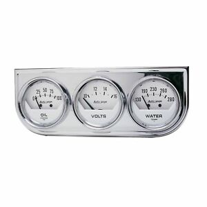 Auto Meter 3 Gauge Chrome White Console 2 1 16 Oil Pressure Water Temp Volt