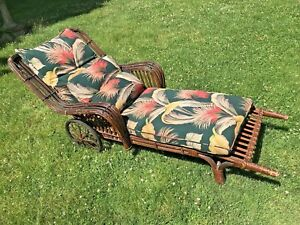 Antique Rattan Wicker Chaise Lounge Chair W Original Barkcloth Cushions