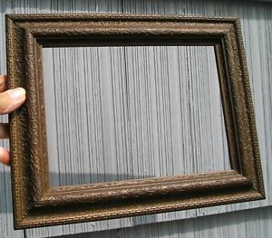 Antique Raised Twig Pattern Art Crafts Mission Picture Frame Curved Glass 6 X 8