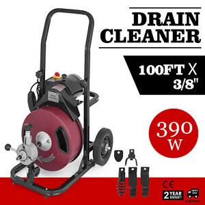 100ft 3 8 Drain Auger Pipe Cleaner Machine Feed Drain Snake Electric Brand New
