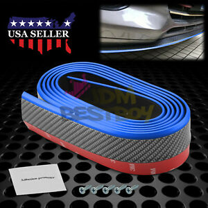 Universal Carbon Fiber Blue Black Front Bumper Lip Splitter Spoiler Body Kit