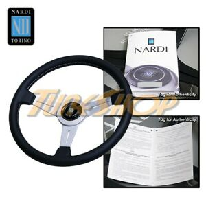 Italy Nardi Classic 330mm Steering Wheel Silver Spoke Black Leather Grey S