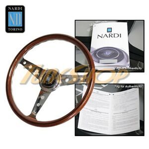 Italy Nardi Classic 360mm Steering Wheel Mahogany Wood With Polished Holes Spoke