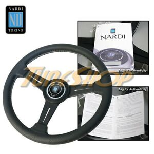 Italy Nardi Classic 340mm Steering Wheel Black Spoke Perforated Leather Gray S