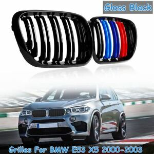 Pair Gloss Black Front Hood Kidney Sport Grills Grille For Bmw E53 X5 2000 2003