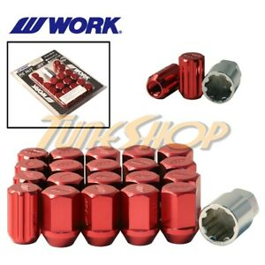 Work Racing Rs Type Forged Aluminum Lock Lug Nuts 12x1 25 M12 1 25 Red 20 Pcs S