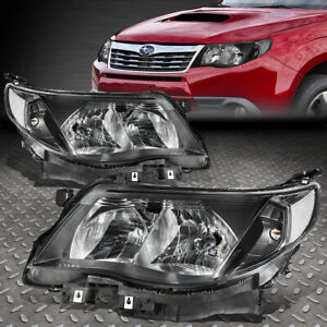For 09 13 Subaru Forester Black Housing Clear Corner Headlight Replacement Lamp