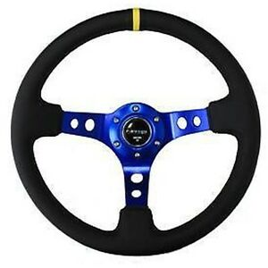 Nrg Steering Wheel Black Leather Blue Spoke W Yellow Mark 350mm 3 Deep Dish