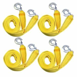 4 Sets 3 Tons 3m Car Tow Cable Towing Strap Rope With Hooks Emergency Heavy Duty