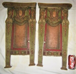 Two Antique Art Deco American Usa Movie Theater Cast Iron End Plaque Panel Door