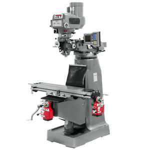 Jet Jtm 4vs Mill With 3 axis Acu rite Vue Dro knee X y axis Powerfeeds 690412