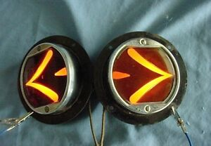 Vintage Arrow Sparton Teleoptic Flush Mount Glass Turn Signal Lights Rat Rod