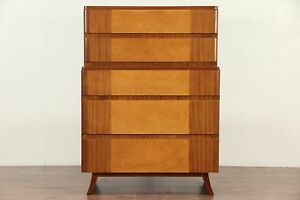 Midcentury Modern Tall Chest 1960 S Vintage Curly Maple Mahogany Rway 29522