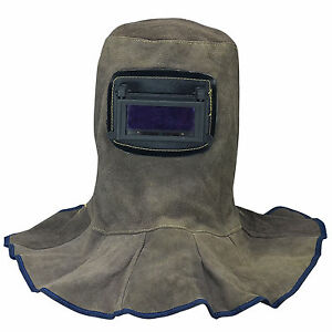 Leather Welding Hood Helmet With Auto Dark Filter Weld Lens Safety Face Shield