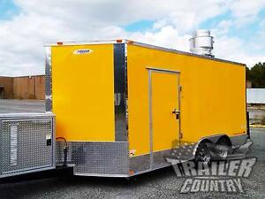 New 8 5 X16 V nose Enclosed Concession Food Vending Bbq Mobile Kitchen Trailer