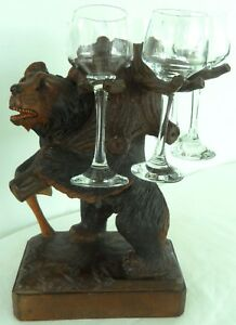 Antique Swiss Brienz Black Forest Hand Carved Bear Size 12 Inch